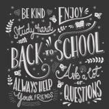 Zurück zu Schultypographiezeichnung auf Tafel mit Motivmitteilungen, Handbeschriftung Stock Abbildung
