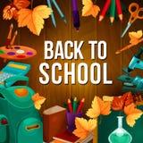 Zurück zu Schulvektor-Briefpapierplakat Stockfoto