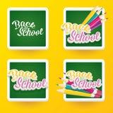 Zurück zu Schulvektoraufkleber mit Text und Bleistift Stockfotografie