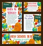 Zurück zu Schulvektorbildungs-Briefpapierposter Lizenzfreie Stockbilder