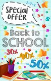 Zurück zu Schulvektorplakat speziellem Promoverkauf Lizenzfreie Stockbilder