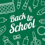Zurück zu Schulvektorschablone mit Schulbriefpapier Lizenzfreies Stockfoto