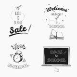 Zurück zu Schulverkaufs-Tafel Beschriftung Gezeichnete Typografie des Vektors Hand stock abbildung