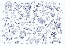 Zurück zu Schulzeichnungshintergrund auf Kopienbuchpapier Stockfoto