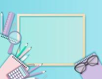 Zurück zu Schulzeitungskunsthintergrund mit Gläsern, Bleistift, Tafel vektor abbildung