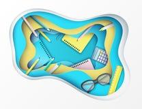 Zurück zu Schulzeitungskunsthintergrund mit Gläsern, Bleistift, Taschenrechner lizenzfreie abbildung