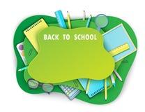 Zurück zu Schulzeitungskunsthintergrund mit Tafel, Bleistift stock abbildung