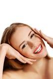 Zurückblickende Zusammenfassung Schönes vorbildliches Girl mit perfekter frischer sauberer Haut Frau getrennt auf Weiß lizenzfreie stockfotografie