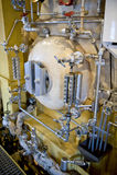 Zurückgestellter Dampferdampfkessel Stockfoto