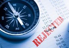 Zurückgewiesenes Budget und Kompass Stockfoto