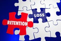 Zurückhalten gegen Verlust-Puzzlespiel-Stück-Griff auf hält Stockbilder