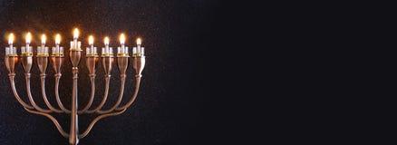 Zurückhaltendes Bild jüdischen Feiertag Chanukka-Hintergrundes Lizenzfreie Stockfotografie