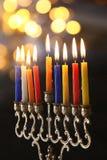 Zurückhaltendes Bild jüdischen Feiertag Chanukka-Hintergrundes Lizenzfreie Stockfotos
