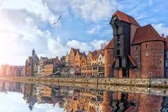 Zuraw Crane in Gdansk, view from the Motlawa stock photo