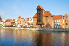Zuraw and old waterfront, Gdansk. Zuraw (oldest crane) and old waterfront, Gdansk ,  Poland Royalty Free Stock Photos