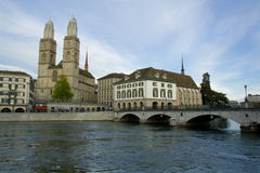 Zurcih city. Zurich city panoramic view over Limmat river. Zurich Cathedral Royalty Free Stock Image