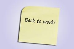 Zurück zu Arbeit. Stockbild