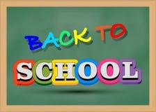 Zurück zu Schule Typografischer Hintergrund mit grüner Tafelbeschaffenheit Abbildung Stockfoto