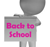 Zurück zu Schule zeigt Zeichen Semesteranfang Lizenzfreie Stockfotografie