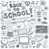 Zurück zu Schule-Zubehör-flüchtigem Gekritzel-vektorset Lizenzfreie Stockfotos