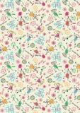 Zurück zu Schulkind-Farbpastellzeichnungs-Muster Stockfoto