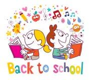 Zurück zu Schulmädchen- und -jungenlesebüchern Lizenzfreie Stockfotos