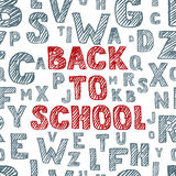 Zurück zu Schulvektorhand gezeichnete Skizzenbeschriftung Nahtloser Hintergrund mit Alphabet Verkratzt und Buchstaben ausbrütend Stockbilder