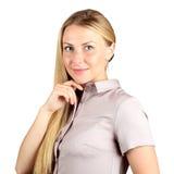 Zurückblickende Zusammenfassung Schöne junge Frau, die ihr Gesicht berührt Porträt Stockfoto