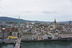 Zurich from above,  Switzerland. Taken from a very tall church Royalty Free Stock Images