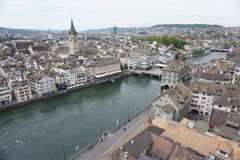 Zurich from above,  Switzerland. Taken from a very tall church Royalty Free Stock Photo