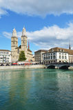 Zurich across Limmat river Stock Image
