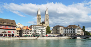 Zurich across Limmat river Royalty Free Stock Image