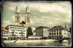 Zurich across Limmat river Royalty Free Stock Photo