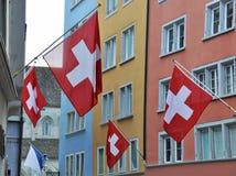 Zurich adornó con las banderas Foto de archivo libre de regalías