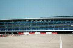 Zurich Airport. The windows of the Zurich Airport Corridors facing the runways Royalty Free Stock Photo