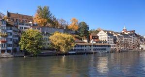 Zurich, autumn. Zurich, Switzerland - view on the Limmat river and the Lindenhof park in autumn Stock Photos