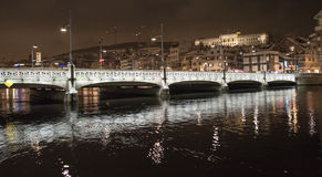 Zurich bridge at night Royalty Free Stock Photo
