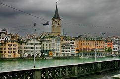 Zurich. The bund of river Limmat Royalty Free Stock Photo