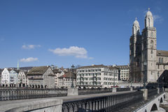 Zurich Cathedraland bridge in Switzerland Royalty Free Stock Images