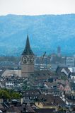 Zurich center. Image of ancient European city, view from the top. Beautiful house and chapel. Stock Images
