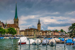 Zurich center on Limmat river Royalty Free Stock Photos