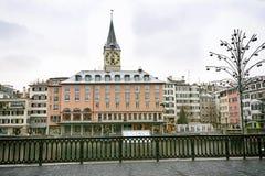 Zurich centrum miasta zimy widok Zdjęcia Royalty Free
