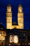 Zurich Charles Tower. The Karlsturm (Charles Tower) is one of the two towers of Zürich's landmark, the Grossmünster Church. The Grossmünster Church is a Royalty Free Stock Photography