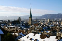 Zurich churches and roofs Royalty Free Stock Photos