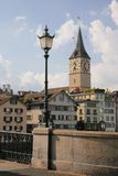 Zurich city. City view to the  Clock Tower in Zurich., Switzerland Royalty Free Stock Photos