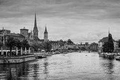 Zurich city center with Fraumunster Church and Limmat rive, Swit Royalty Free Stock Photo