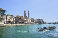 Zurich city center, Grossmunster and Limmat quay in summer Royalty Free Stock Photos
