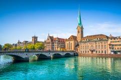 Zurich city center with historic bridge and river Limmat, Switzerland Stock Photos