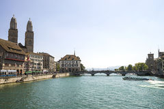 Zurich city center and Limmat quay Royalty Free Stock Image