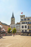 Zurich city center near St.Peter Cathedral, Switzerland Royalty Free Stock Photo